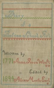 Anna Green Winslow diary cover